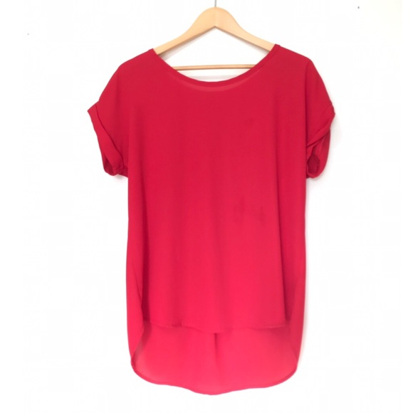 Pleione Tops - Pleione Red ShortSleeve Pleated Blouse Nordstrom S
